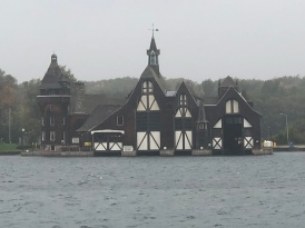 The castle is on Heart Island. This is the boathouse on the mainland